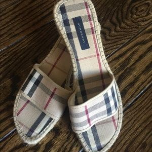 BURBERRY Canvas Wedge Espadrille Slides